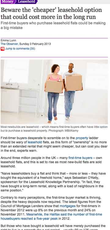 Observer newspaper features Leasehold Knowledge Partnership – and warns of problems with joint freehold owners