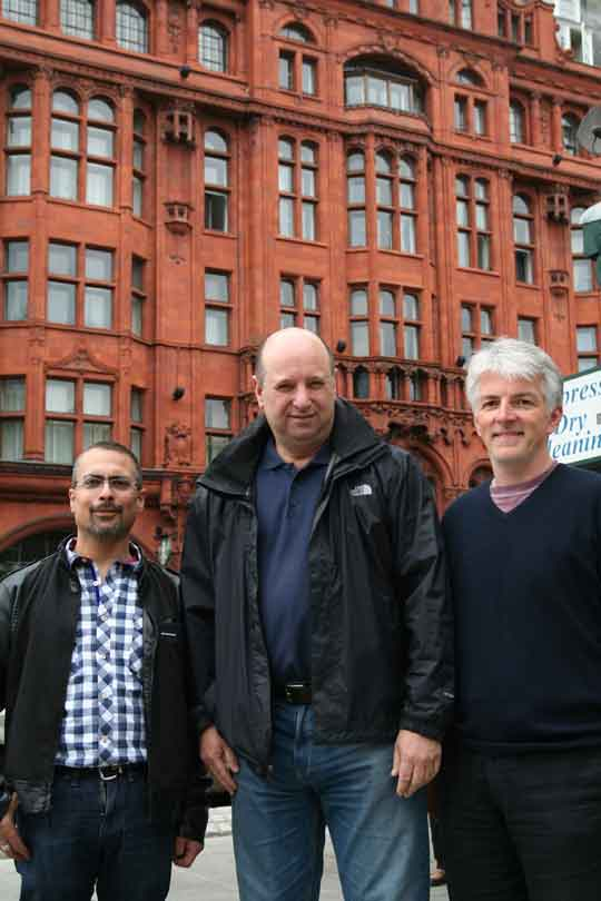 Sterling Estates Management added up to too many pounds for leaseholders Dr Basel Asmar (right)), Scott McCabe and Chris Goodwin
