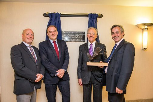 Cabinet minister and local MP Ed Davey, second left, with the residents' chosen property manager Alan Coates, left, and past and present Charter Quay Residents' Association chairmen Derek Winsor, second right, and Martin Boyd, right