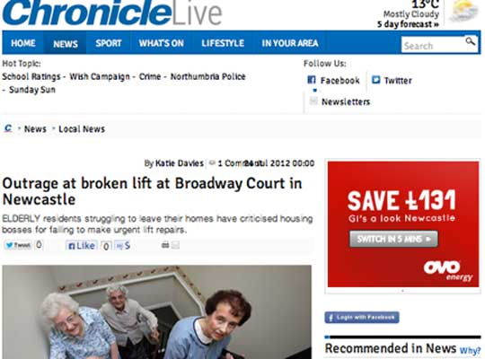 Pensioners trapped by broken lift in Peverel block make BBC news … and it has happened FOUR times before in the past TWO years!