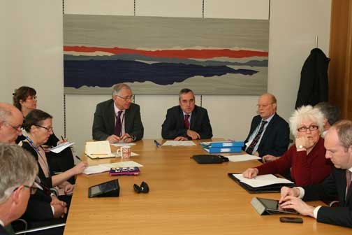 RTM meeting at Portcullis House. Clockwise from left: Rob Plumb, HML Holdings plc; Neil Mulhoney, IRPM; Paula Hassall, DCLG; (Sebastian O'Kelly, absent taking picture); Katherine O'Riordan, aide to Sir Peter Bottomley; Sir Peter Bottomley MP; Martin Boyd, LKP / Campaign against retirement leasehold exploitation; Nigel Wilkins, Carl; Jim Fitzpatrick, MP Poplar and Limehouse; Cherry Jones, managing agent; Justin Tomlinson, Conservative MP Swindon North.