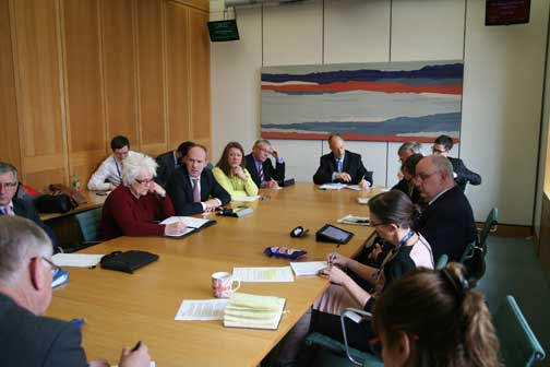 RTM meeting Portcullis House. Clockwise from left: Sir Peter Bottomley MP; Jim Fitzpatrick, Labour MP Poplar and Limehouse; Cherry Jones, managing agent; Justin Tomlinson, Conservative MP Swindon North; Karen Peel, leasehold activist; Dudley Joiner, Right To Manage Federation; Keith Edgar, Association of Retirement Housing Managers; Stuart Gardner, aide to Mark Field Conservative MP for Cities of London and Westminster; Rob Plumb, HML Holdings plc; (obscured) Mark Maclaren, Which?; Neil Mulhoney, IRPM; Paula Hassall, DCLG; Katherine O'Riordan, aide to Sir Peter Bottomley.