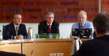 Discussing alternatives to leasehold: Martin Boyd (left) of LKP holds Westminster discussion with hosts Jim Fitzpatrick (Labour MP, Limehouse and Poplar) and Sir Peter Bottomley (Conservative MP, Worthing West)