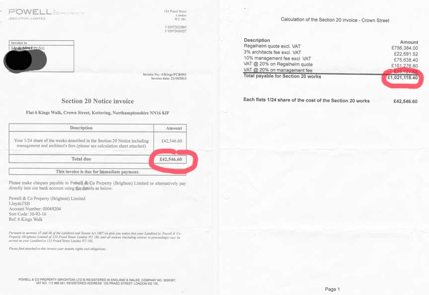 Sean Powell's bill sent to the Leydens equalled the current value of their property