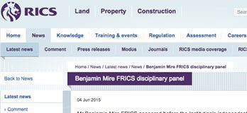 RICS exonerates Benjamin Mire in shock ruling