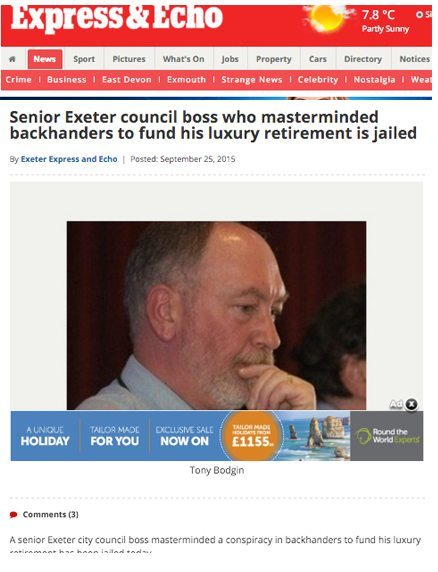 Anthony Bodgin: A corrupt council fat cat goes off to prison last September
