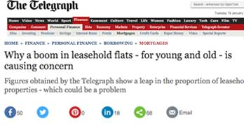 Telegraph reports that leasehold newbuild flats are on the rise