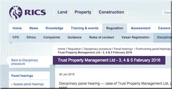 Trust Property Management up before RICS disciplinary panel