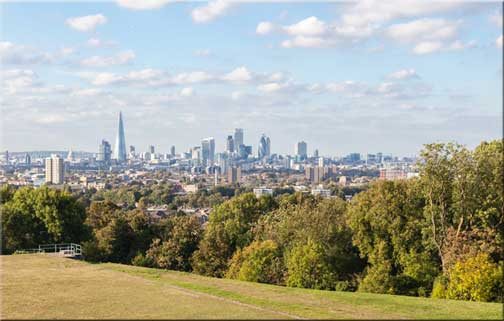 View over London from Nunhead to the south east of the city