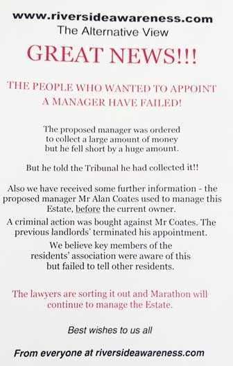 One of the anonymous letters at Canary Riverside deploring the leaseholders' action to ditch Marathon Estates