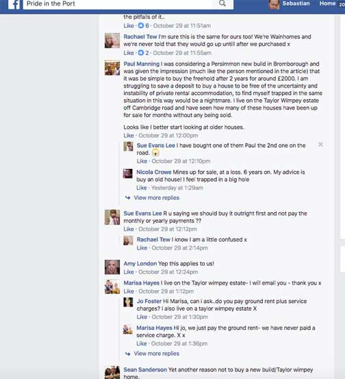 Social media comment about leasehold houses in Ellesmere Port