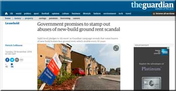 Guardian sticks with new-build ground rent scandal, while LKP advises Persimmon home buyers to walk away
