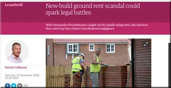 'New-build ground rent scandal could spark legal battles,' says Guardian