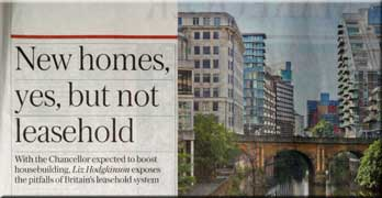 Sunday Telegraph says 'New homes, yes, but not leasehold'