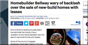 Bellway fears backlash over leasehold houses may eat into profits