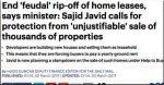 Sajid Javid pledges Help To Buy clampdown on 'feudal' leasehold terms