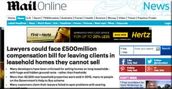 Developer recommended solicitors could face £500m bill, says Daily Mail