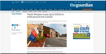 Guardian reports the Taylor Wimpey £130m offer to settle ground rent scandal