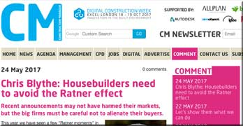 Ratner moment for UK housebuilders, says Chris Blythe, CEO of Chartered Institute of Building