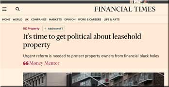 Time to 'get political about leasehold', says the Financial Times