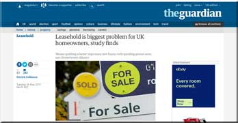 Guardian reports leasehold is the biggest problem for 'homeowners'