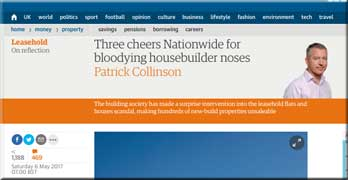 Guardian's Patrick Collinson welcomes Nationwide exploding the ground rent scandal