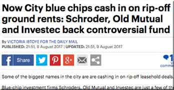 Daily Mail says blue chips are cashing in on 'rip-off ground rents'