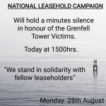 NATIONAL LEASEHOLD CAMPAIGN (NLC) WILL HOLD A MINUTES SILENCE IN HONOUR OF THE VICTIMS OF THE GRENFELL TRAGEDY.