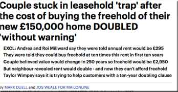MailOnline forensically examines Taylor Wimpey couple stuck in leasehold house with £590pa to Adriatic Land