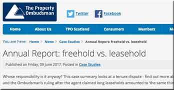 The Property Ombudsman fines agent for selling house as 'virtually freehold'. (Don't worry ARMA members: it was only £200)