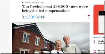 Telegraph reports case of Taylor Wimpey pensioner who has paid £38,000 for his freehold … and now won't help him