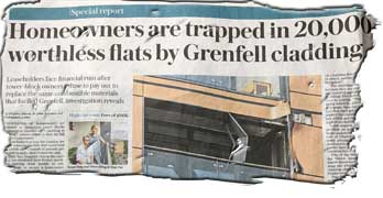 20,000 leaseholders trapped in blocks with Grenfell cladding, says Telegraph