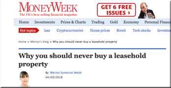 Don't buy leasehold, says Merryn Somerset Webb of Money Week, but …