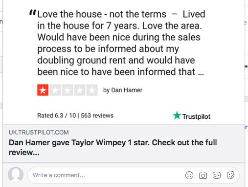 Unhappy doubling ground rent customers deluge TrustPilot and