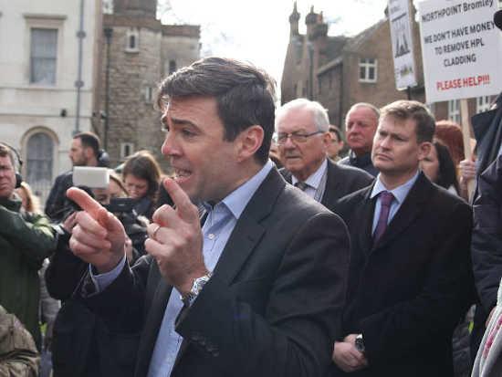 Andy Burnham cladding demonstration
