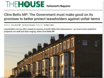 Clive Betts MP leasehold mis-selling